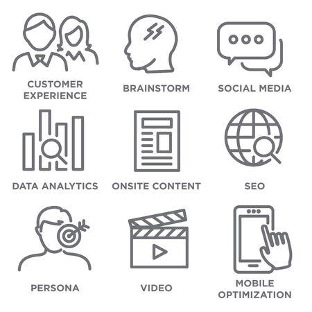 마케팅을위한 아이콘 세트 - SEO, 모바일 최적화, 브레인 스토밍, 소셜 미디어, 데이터 분석 등 일러스트