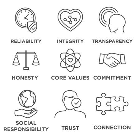 Business Ethics Icon Set con la responsabilità sociale, valori fondamentali aziendali, l'affidabilità, la trasparenza, ecc