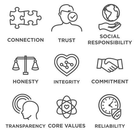 Business Ethics Icon Set con la responsabilità sociale, valori fondamentali aziendali, l'affidabilità, la trasparenza, ecc Vettoriali