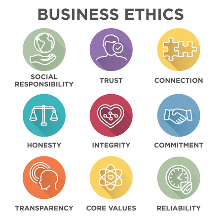 Business Ethics Icon Set avec la responsabilité sociale, les valeurs fondamentales des sociétés, la fiabilité, la transparence, etc.