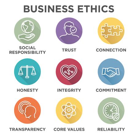 Business Ethics Icon Set mit sozialer Verantwortung, Corporate Kernwerte, Zuverlässigkeit, Transparenz, etc.