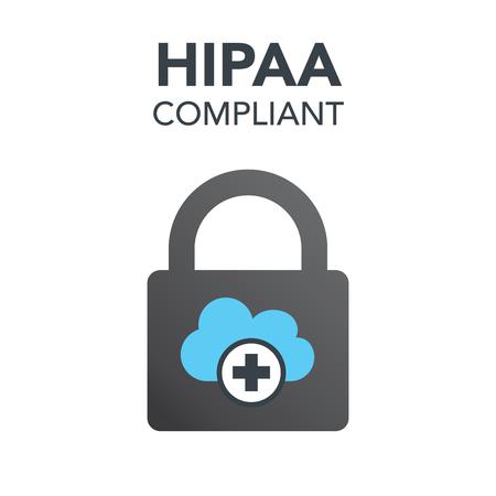 HIPAA 준수 아이콘 그래픽 용 의료 문서 보안 일러스트