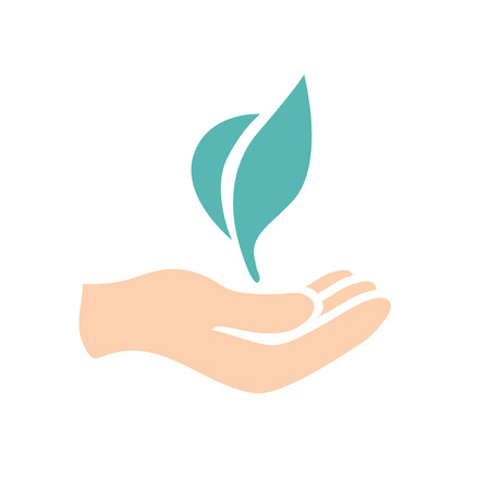 Slow Growth Icon with Hand and Plant Illustration