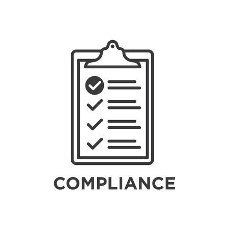 In Compliance Graphic with Clipboard and tick marks