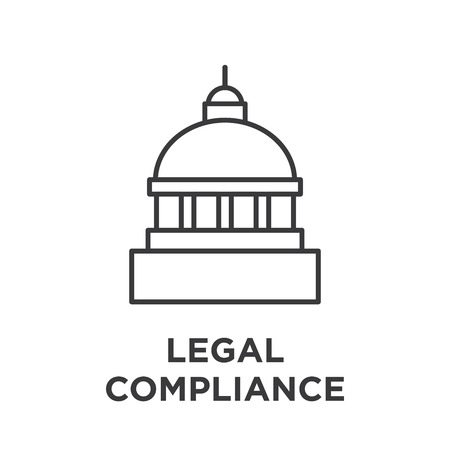 Legal compliance graphic with capitol building top Stock Illustratie