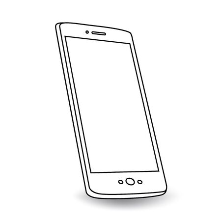 Angled smart phone - black and white with shadow and perspective