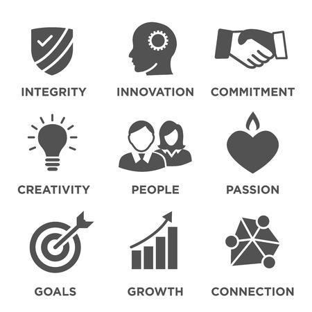 Unternehmen Kernwerte Solide Icons für Websites oder Infografiken Standard-Bild - 69369308