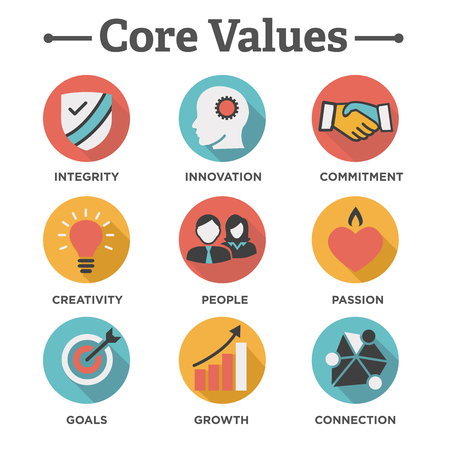 Company Core Values Solid Icons for Websites or Infographics Фото со стока - 69369312