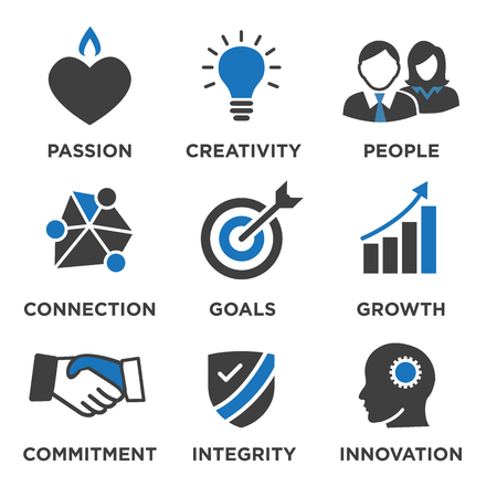 icons: Company Core Values Solid Icons for Websites or Infographics