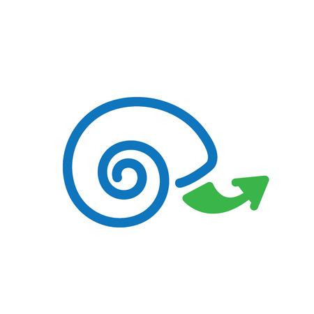 gradual: Snail Icon with Arrow Depicting Slow Growth