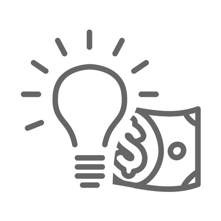 moneymaking: Dollar bill coming out of a lightbulb Illustration