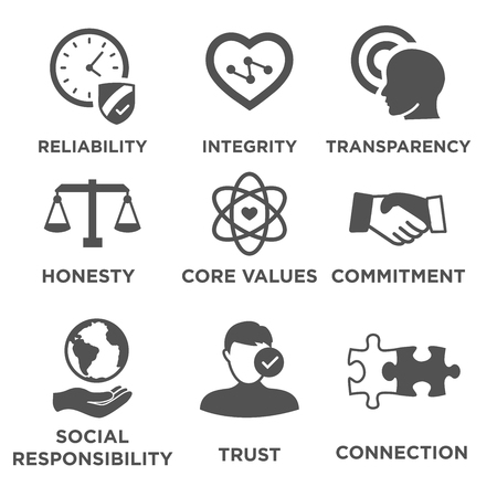 Business Ethics Fest Icon Set Isoliert mit Text