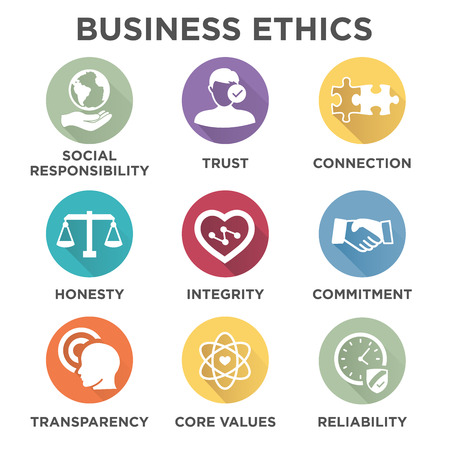 Business Ethics Solid Icon Set Isolated with Text Ilustração