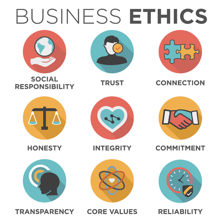 Business Ethics Solid Icon Set Isolated with Text Vettoriali