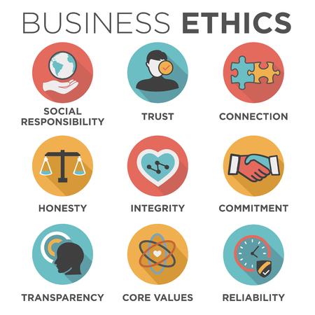 Business Ethics Set Solid Icon Geïsoleerd met Tekst Stockfoto - 69369319