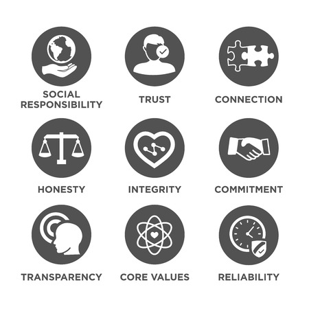Business Ethics Solid Icon Set Isolated with Text Ilustrace