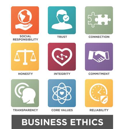 Ética en los Negocios icono fijo Conjunto aislado con el texto