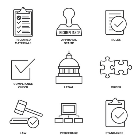 In Compliance Icon Set - Outline with Legal and Procedural