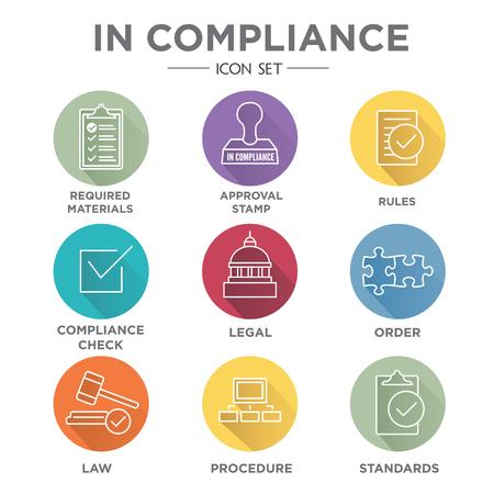 In Compliance Icon Set - Outline met juridische en procedurele