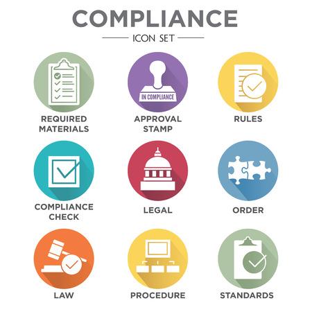 In compliance - icon set that shows a company passed inspection Vektoros illusztráció