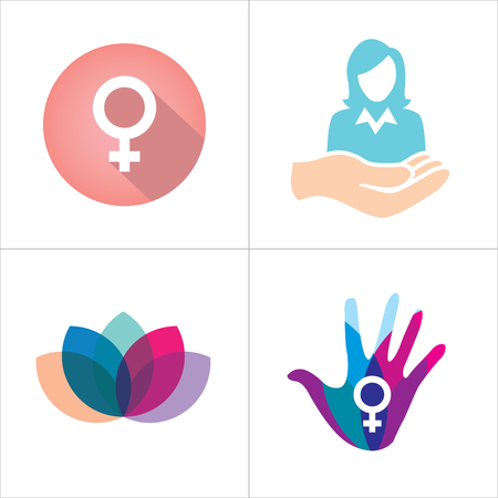 symbol: Colorful Womens Services Icon with Female Symbol
