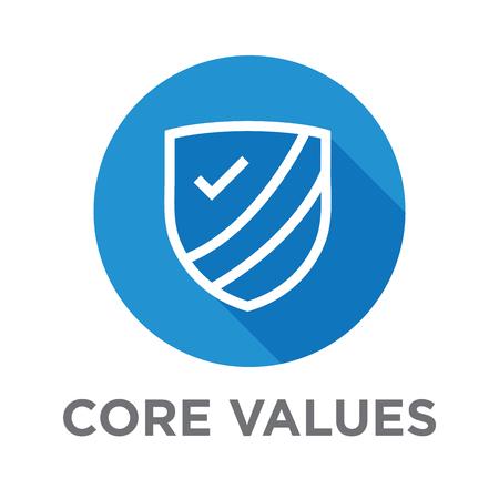 Compañía Valores esenciales de iconos para los sitios web de esquema o la infografía