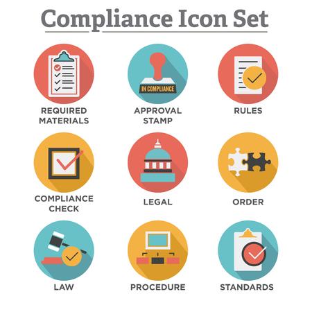 In Übereinstimmung - Icon-Set, die ein Unternehmen zeigt bestanden Inspektion Vektorgrafik