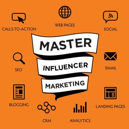 Influencer Marketing Icon Set with Social Media, CRM, Analytics, etc