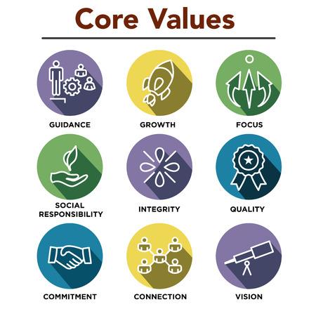 Les valeurs fondamentales de la société décrivent des icônes pour les sites Web ou les infographies Vecteurs