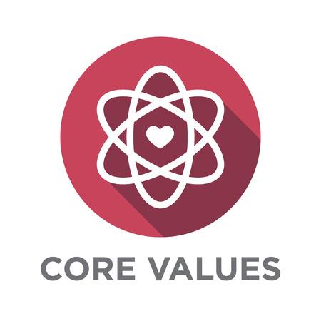 Unternehmen Kern Standpunkt erklären Icons für Websites oder Infografiken Vektorgrafik