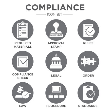 compliant: In compliance - icon set that shows a company passed inspection