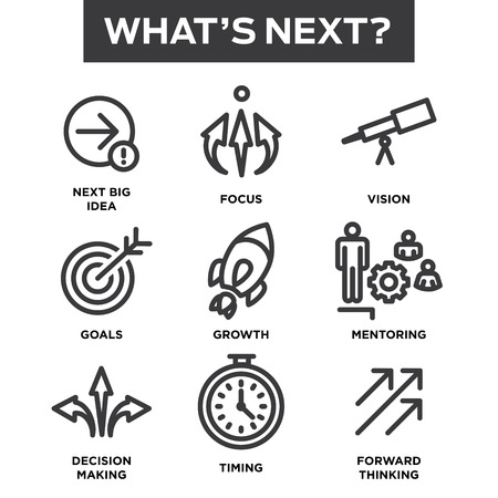 take action: Whats Next Icon Set with Big Idea, Mentoring, Decision Making, and Forward Thinking etc Icons