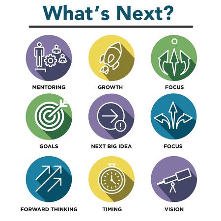 What's Next Icon Set met Big Idea, Mentoring, besluitvorming en Forward Thinking etc Icons