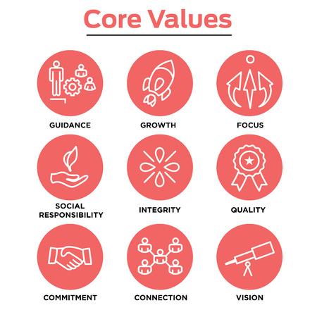 Podstawowe wartości firmy Outline ikony na stronach internetowych lub infografiki