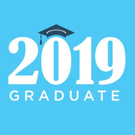 キャップと 2019 おめでとう大学院タイポグラフィーのクラス