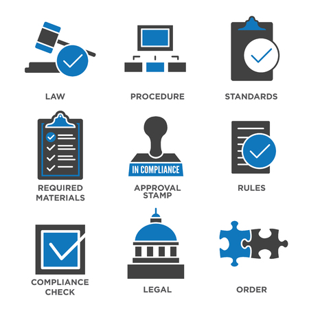 tickbox: In compliance - icon set that shows a company passed inspection