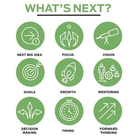 what's ahead: Whats Next Icon Set with Big Idea, Mentoring, Decision Making, and Forward Thinking etc Icons