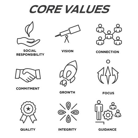 Kernwaarden Overzicht iconen voor websites of infographics.