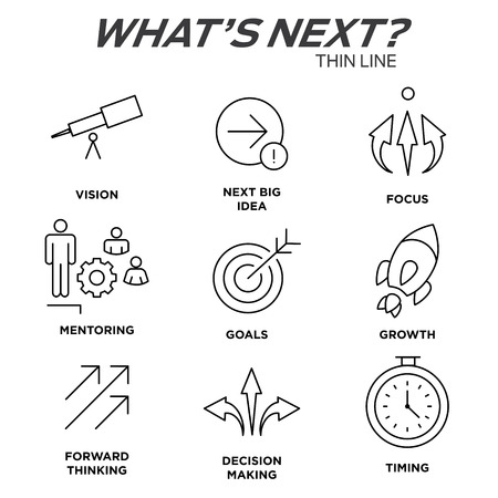 what's ahead: Whats Next Icon Set with Big Idea, Mentoring, Decision Making, and Forward Thinking etc Icons. Illustration