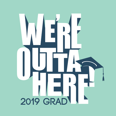 Class of 2019 Congratulations Graduate Typography with cap
