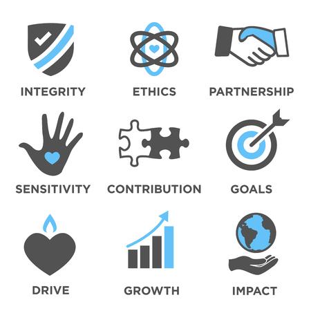Odpowiedzialność społeczna Solidny zestaw ikon z wpływem, etyką, partnerstwem, napędem itp.