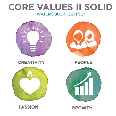 A Company Core Values Solid Icons for Websites or Infographics Watercolor