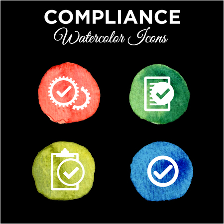 In Compliance Icon Set Solid Watercolor Illustration