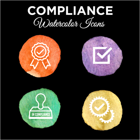 compliant: Watercolor In Compliance Icon Set - Outline Illustration
