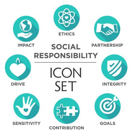 Responsabilité sociale Ensemble d'icônes solides avec impact, éthique, partenariat, conduite, etc.