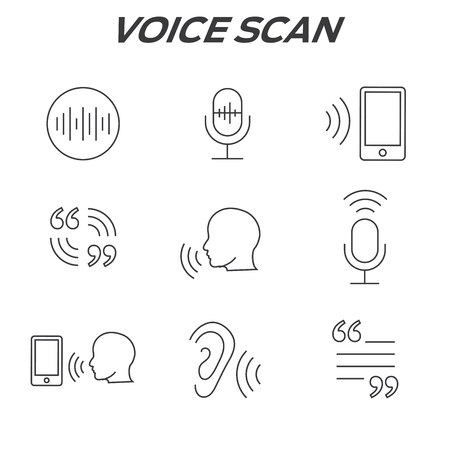 hearing: Voiceover or Voice Command Icon with Sound Wave Images Set Illustration