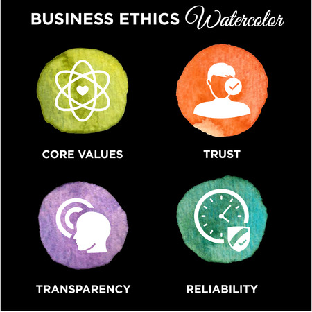 Business Ethics Solid Icon Set Illustration