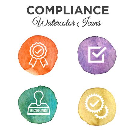 Aquarel In Compliance Icon Set - Overzicht