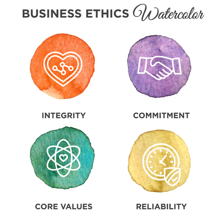 Business Ethics Outline Icon Set
