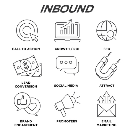 Inbound Marketing Vector Icons with growth, roi, call to action, seo, lead conversion, social media, attract, brand engagement, promoters, campaign, smm
